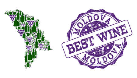 Vector collage of grape wine map of Moldova and grunge seal stamp for best wine. Map of Moldova collage designed with bottles and grape berries. Illustration