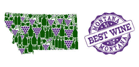 Vector collage of grape wine map of Montana State and grunge seal for best wine. Map of Montana State collage composed with bottles and grape berries. 向量圖像
