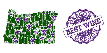 Vector collage of grape wine map of Oregon State and grunge stamp for best wine. Map of Oregon State collage created with bottles and grape berries.