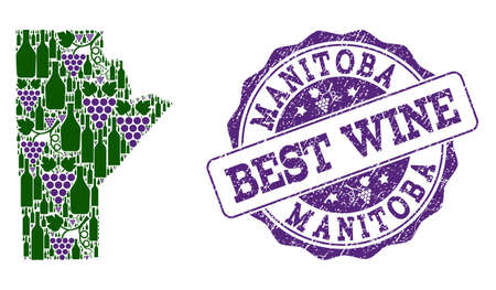 Vector collage of grape wine map of Manitoba Province and grunge seal for best wine. Map of Manitoba Province collage created with bottles and grape berries. Illustration
