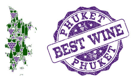 Vector collage of grape wine map of Phuket and grunge stamp for best wine. Map of Phuket collage composed with bottles and grape berries. Иллюстрация