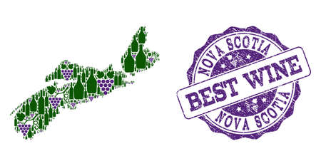 Vector collage of grape wine map of Nova Scotia Province and grunge seal for best wine. Map of Nova Scotia Province collage formed with bottles and grape berries. Illustration