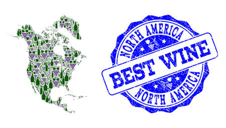 Vector collage of grape wine map of North America and grunge seal for best wine. Map of North America collage formed with bottles and grape berries.