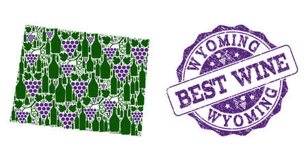 Vector collage of grape wine map of Wyoming State and grunge stamp for best wine. Map of Wyoming State collage created with bottles and grape berries.