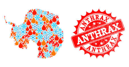 Composition of snowflake and fire map of Antarctica and Anthrax grunge stamp seal. Mosaic vector map of Antarctica is created with winter and fire icons. Anthrax stamp has red color,