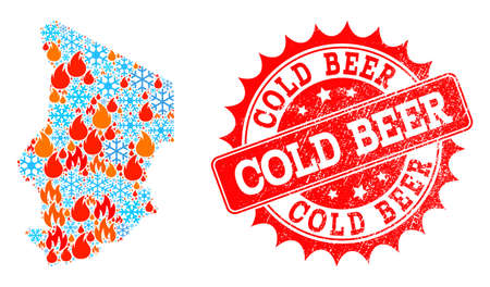 Composition of winter and flame map of Chad and Cold Beer grunge stamp seal. Mosaic vector map of Chad is created with winter and flame icons. Cold Beer stamp has red color,