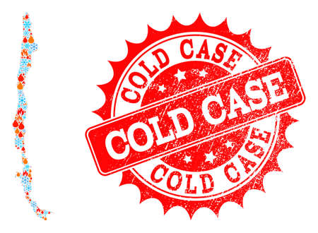 Composition of snowflake and flame map of Chile and Cold Case grunge stamp seal. Mosaic vector map of Chile is formed with snow and flame symbols. Cold Case stamp has red color,