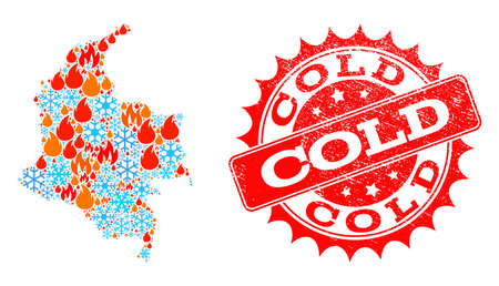Composition of winter and fire map of Colombia and Cold grunge stamp seal. Mosaic vector map of Colombia is formed with winter and fire symbols. Cold stamp has red color,