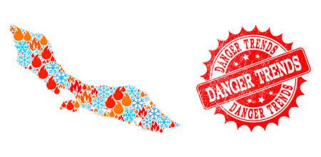 Composition de la carte d'hiver et d'incendie de l'île de Curaçao et sceau de timbre grunge Danger Trends. La carte vectorielle en mosaïque de l'île de Curaçao est composée d'icônes d'hiver et de feu. Le timbre de tendances de danger a la couleur rouge,