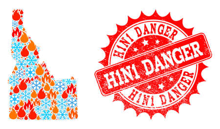 Composition of winter and fire map of Idaho State and H1N1 Danger grunge stamp seal. Mosaic vector map of Idaho State is composed with winter and flame symbols. H1N1 Danger stamp has red color,