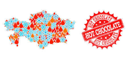Composition of winter and fire map of Kazakhstan and Hot Chocolate grunge stamp seal. Mosaic vector map of Kazakhstan is created with snow and fire icons. Hot Chocolate stamp has red color, Çizim