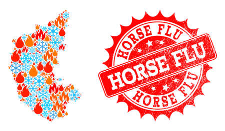 Composition of winter and flame map of Karnataka State and Horse Flu grunge stamp seal. Mosaic vector map of Karnataka State is designed with ice and flame icons. Horse Flu stamp has red color,