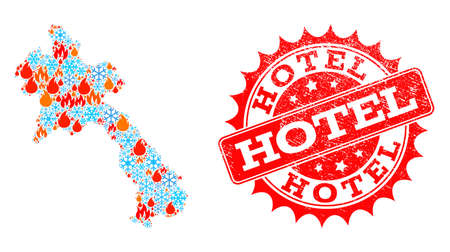 Composition of snowflake and flame map of Laos and Hotel grunge stamp seal. Mosaic vector map of Laos is formed with frost and flame icons. Hotel stamp has red color, Vettoriali