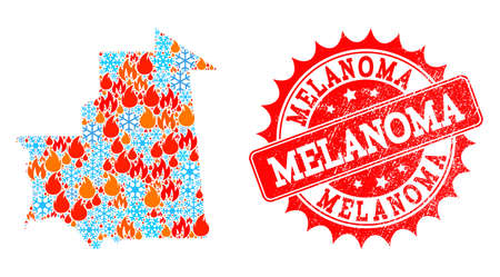 Composition of snowflake and flame map of Mauritania and Melanoma grunge stamp seal. Mosaic vector map of Mauritania is composed with winter and flame icons. Melanoma stamp has red color,