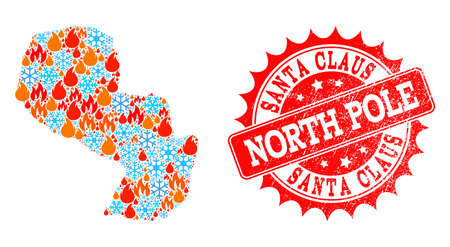 Composition of winter and fire map of Paraguay and Santa Claus North Pole grunge stamp seal. Mosaic vector map of Paraguay is created with winter and fire symbols.