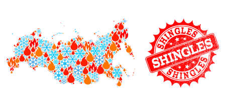 Composition of winter and wildfire map of Russia and Shingles grunge stamp seal. Mosaic vector map of Russia is created with winter and fire icons. Shingles stamp has red color, Illustration