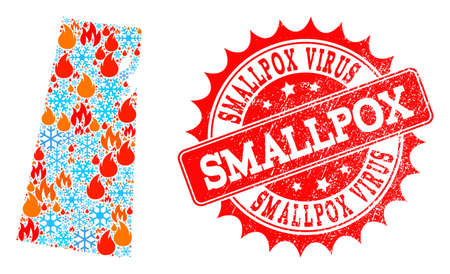 Composition of winter and fire map of Saskatchewan Province and Smallpox Virus grunge stamp seal. Mosaic vector map of Saskatchewan Province is designed with cold and fire icons. Ilustracja
