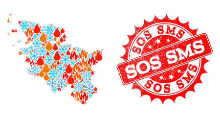 Composition of winter and fire map of Schleswig-Holstein State and Sos SMS grunge stamp seal. Mosaic vector map of Schleswig-Holstein State is created with snow and fire symbols.