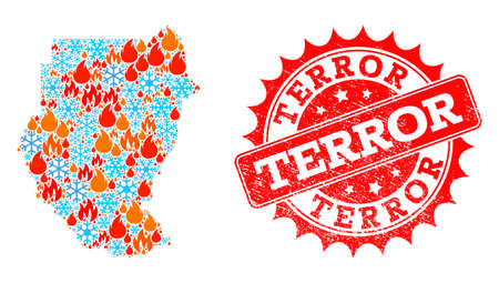 Composition of winter and flame map of Sudan and Terror grunge stamp seal. Mosaic vector map of Sudan is composed with winter and flame icons. Terror stamp has red color,