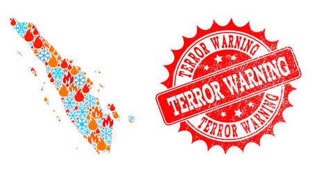 Composition of winter and flame map of Sumatra Island and Terror Warning grunge stamp seal. Mosaic vector map of Sumatra Island is designed with cold and flame symbols. Illustration