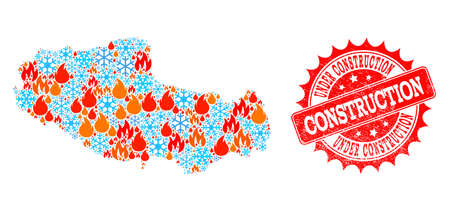 Composition of winter and fire map of Tibet and Under Construction grunge stamp seal. Mosaic vector map of Tibet is formed with ice and fire symbols. Under Construction stamp has red color, 写真素材 - 114281929