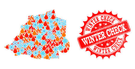 Composition of winter and wildfire map of Vatican and Winter Check grunge stamp seal. Mosaic vector map of Vatican is designed with winter and fire icons. Winter Check stamp has red color,