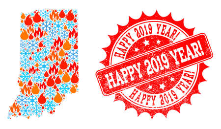 Composition of snowflake and flame map of Indiana State and Happy 2019 Year! grunge stamp seal. Mosaic vector map of Indiana State is composed with ice and flame icons. Illustration