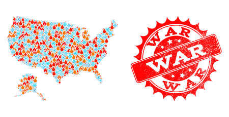 Composition of snowflake and fire map of USA and Alaska and War grunge stamp seal. Mosaic vector map of USA and Alaska is created with cold and fire symbols. War stamp has red color,