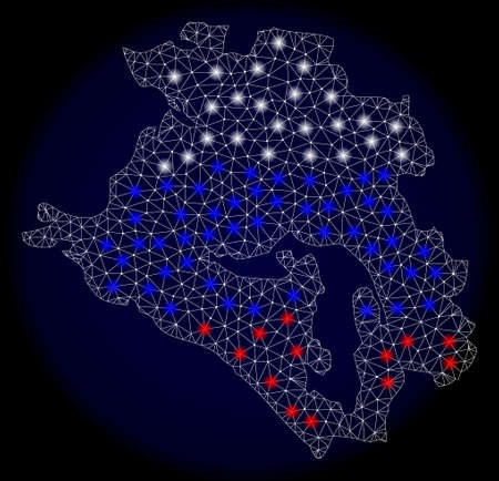 Mesh vector map of Krasnodarskiy Kray with glare effect in Russian official flag colors. Abstract lines, triangles, light spots and points on dark background with map of Krasnodarskiy Kray.