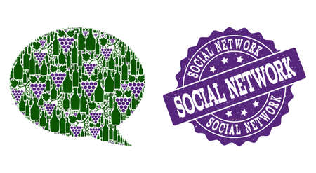Message cloud composition of alcohol bottles and grape and grunge stamp seal. Isolated vectors in green and purple colors on a white background for bars, alcohol shop banners, ads, concepts.