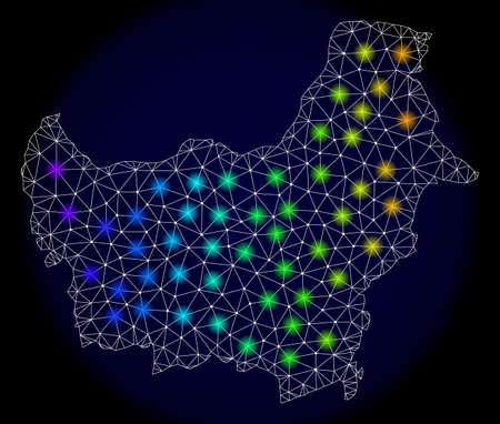 Mesh vector map of Borneo with glare effect. Light spots have bright spectrum colors. Abstract lines, triangles, light spots and points on a dark background with map of Borneo.