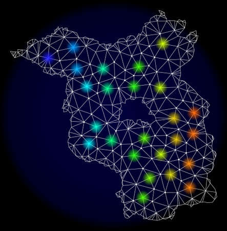 Mesh vector map of Brandenburg Land with glare effect. Light spots have bright spectrum colors. Abstract lines, triangles, light spots and points on a dark background with map of Brandenburg Land.