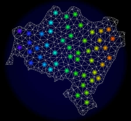 Mesh vector map of Lower Silesian Voivodeship with glare effect. Light spots have bright spectrum colors. Abstract lines, triangles,