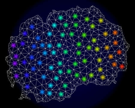 Mesh vector map of Macedonia with glare effect. Light spots have bright spectrum colors. Abstract lines, triangles, light spots and points on a dark background with map of Macedonia.