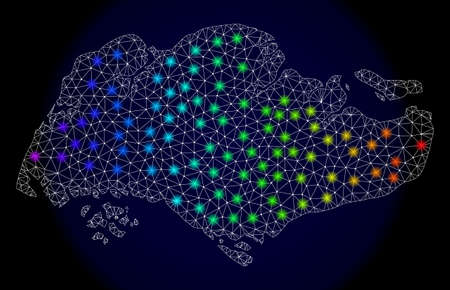 Mesh vector map of Singapore with glare effect. Light spots have bright spectrum colors. Abstract lines, triangles, light spots and points on a dark background with map of Singapore.