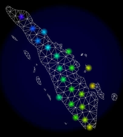 Mesh vector map of Sumatra with glare effect. Light spots have bright spectrum colors. Abstract lines, triangles, light spots and points on a dark background with map of Sumatra. Illustration