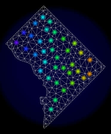 Mesh vector map of Washington District Columbia with glare effect. Light spots have bright spectrum colors. Abstract lines, triangles,