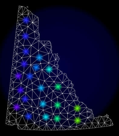Mesh vector map of Yukon Province with glare effect. Light spots have bright spectrum colors. Abstract lines, triangles, light spots and points on a dark background with map of Yukon Province.