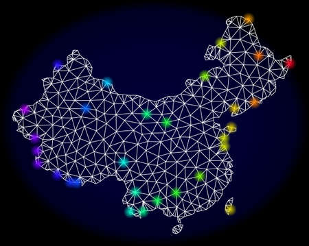 Mesh vector map of China with glare effect. Light spots have bright spectrum colors. Abstract lines, triangles, light spots and points on a dark background with map of China.