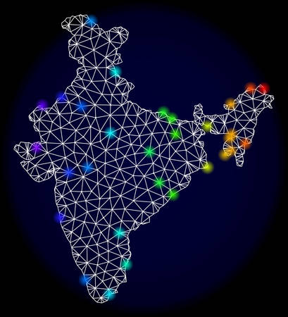 Mesh vector map of India with glare effect. Light spots have bright rainbow colors. Abstract lines, triangles, light spots and points on a dark background with map of India.