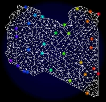 Mesh vector map of Libya with glare effect. Light spots have bright rainbow colors. Abstract lines, triangles, light spots and points on a dark background with map of Libya.