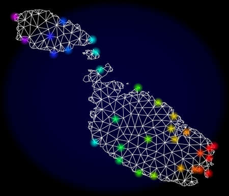 Mesh vector map of Malta with glare effect. Light spots have bright spectrum colors. Abstract lines, triangles, light spots and points on a dark background with map of Malta. Иллюстрация