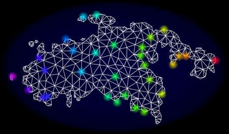 Mesh vector map of Saint John Island with glare effect. Light spots have bright rainbow colors. Abstract lines, triangles, light spots and points on a dark background with map of Saint John Island.