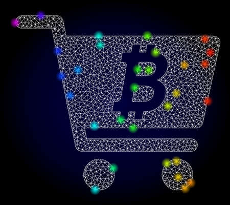 Glossy polygonal mesh bitcoin webshop icon with glow effect on a dark background. Carcass bitcoin webshop iconic vector with glowing multi colored dots in rainbow colors. Abstract white mesh lines,