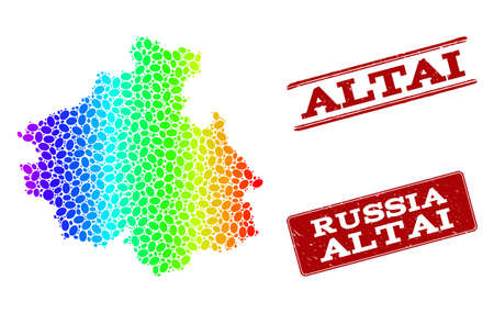 Spectrum dotted map of Altai Republic and red grunge stamps. Vector geographic map in bright spectrum gradient colors on a white background. 矢量图像