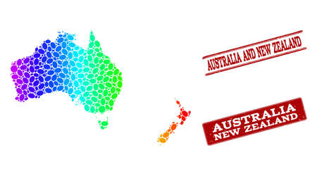 Spectrum dotted map of Australia and New Zealand and red grunge stamps. Vector geographic map in bright spectrum gradient colors on a white background.