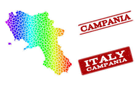 Spectrum dotted map of Campania region and red grunge stamps. Vector geographic map in bright spectrum gradient colors on a white background.