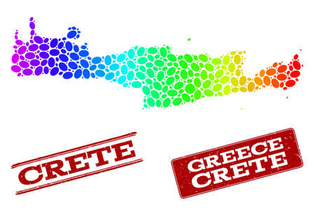 Spectrum dotted map of Crete Island and red grunge stamps. Vector geographic map in bright spectrum gradient colors on a white background.