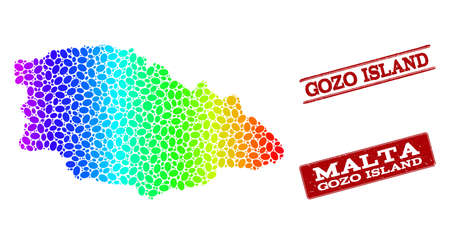 Spectrum dotted map of Gozo Island and red grunge stamps. Vector geographic map in bright spectrum gradient colors on a white background.