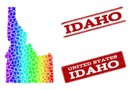 Spectrum dotted map of Idaho State and red grunge stamps. Vector geographic map in bright spectrum gradient colors on a white background. Иллюстрация